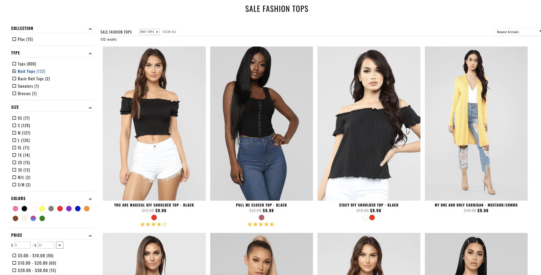 Fashion nova filters by fast simon