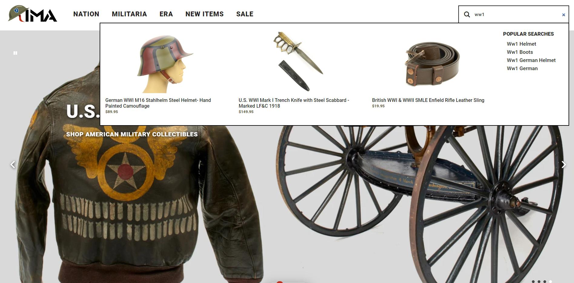 IMA website snapshot