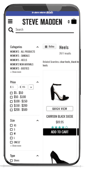 Steve Madden's search results page on Mobile built by Fast Simon