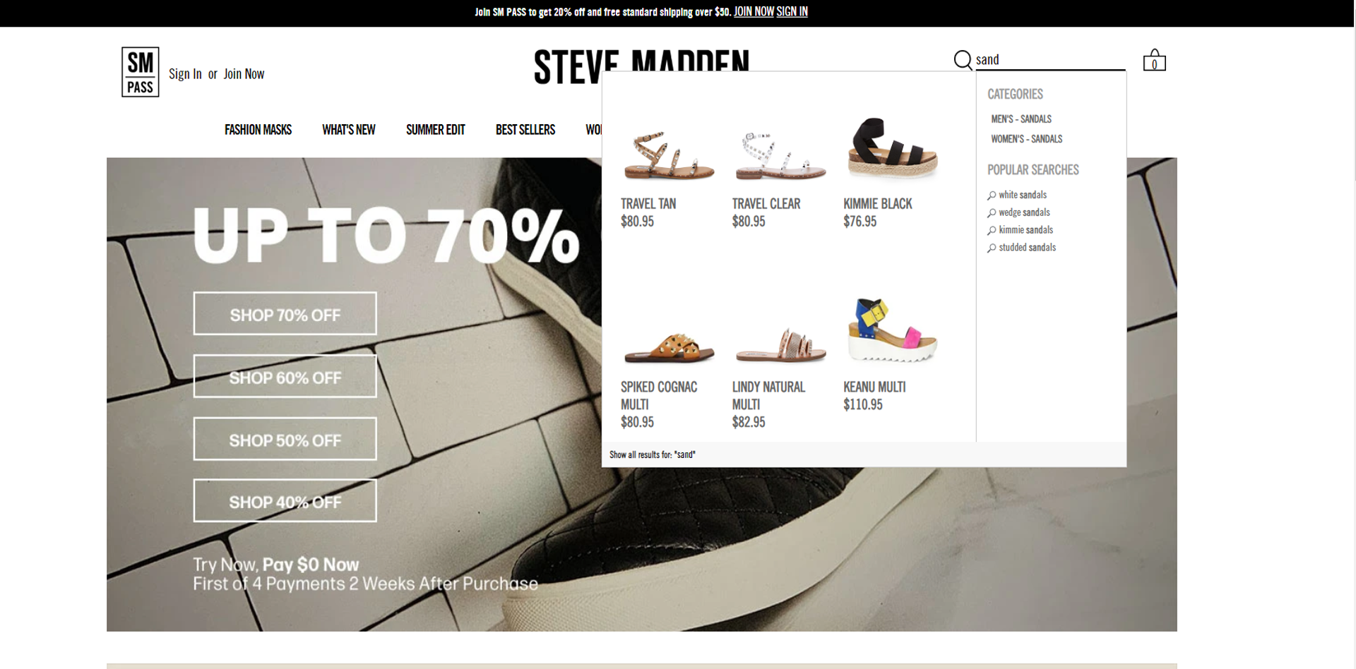 Steve Madden website snapshot