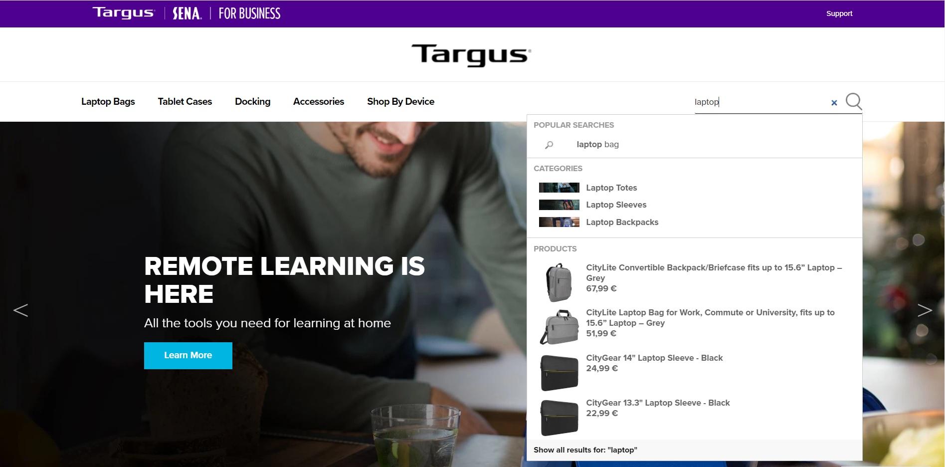 Targus website snapshot