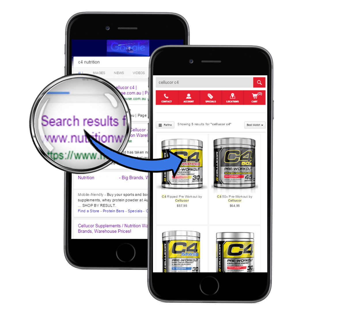 mobile seo to search result